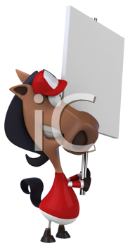 Royalty Free Clipart Image of a Horse Jockey With a Sign