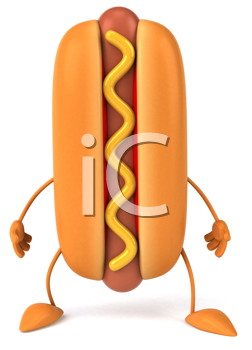 Royalty Free Clipart Image of a Hotdog