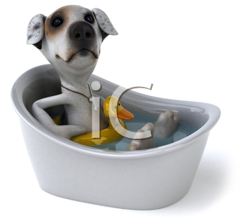 Royalty Free Clipart Image of a Dog in a Tub With a Rubber Duck Ring