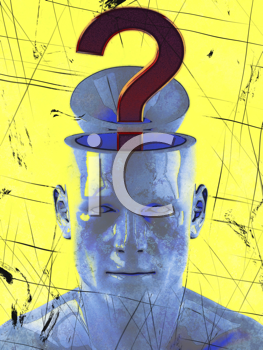 Royalty Free Clipart Image of a Man With a Question Mark Coming From His Brain