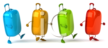 Royalty Free Clipart Image of Four Walking Suitcases