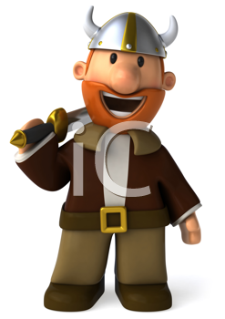 Royalty Free Clipart Image of a Viking With a Sword
