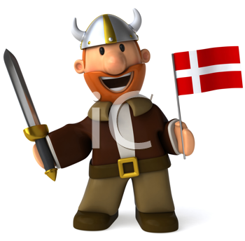 Royalty Free Clipart Image of a Viking With a Flag