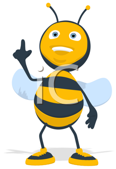 Royalty Free Clipart Image of a Bee Pointing Up