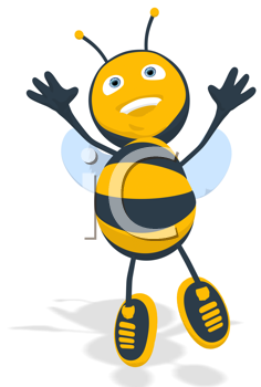 Royalty Free Clipart Image of an Excited Bee