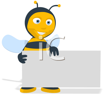 Royalty Free Clipart Image of a Bee Holding a Banner