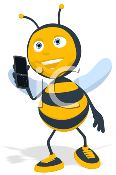 Royalty Free Clipart Image of a Bee With a Cellphone