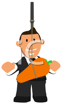 Royalty Free Clipart Image of a Businessman With a Carrot Dangling in Front of Him