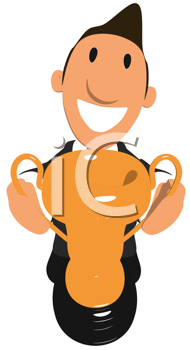 Royalty Free Clipart Image of a Businessman With a Trophy