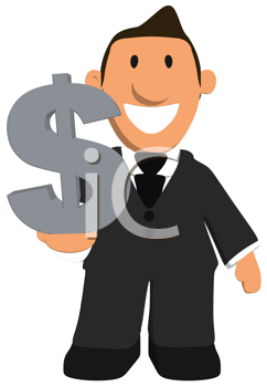 Royalty Free Clipart Image of a Person With a Dollar Sign