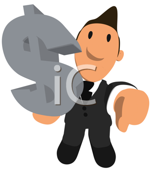Royalty Free Clipart Image of a Man Holding a Dollar Sign With Thumbs Down