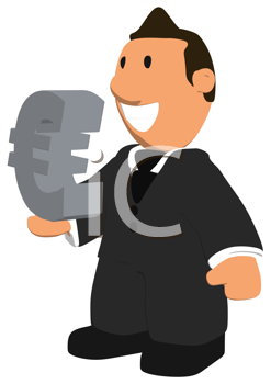 Royalty Free Clipart Image of a Guy With a Euro Symbol