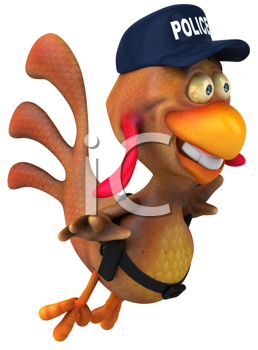 Royalty Free Clipart Image of a Flying Chicken Cop