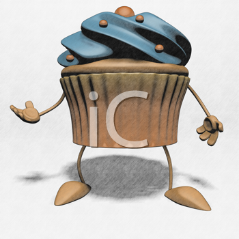 Royalty Free Clipart Image of a Cupcake