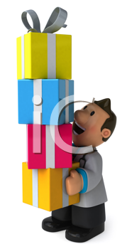 Royalty Free Clipart Image of a Doctor With Gifts