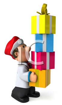 Royalty Free Clipart Image of a Doctor in a Santa Hat With Gifts