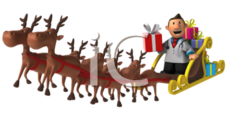Royalty Free Clipart Image of a Doctor in Santa's Sleigh With Reindeer