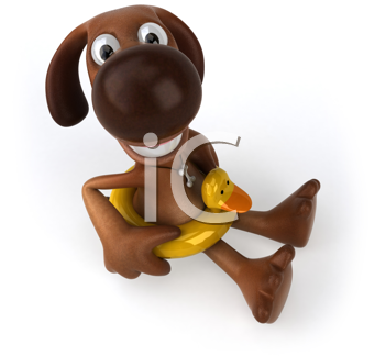 Royalty Free Clipart Image of a Dog With a Rubber Duck Ring