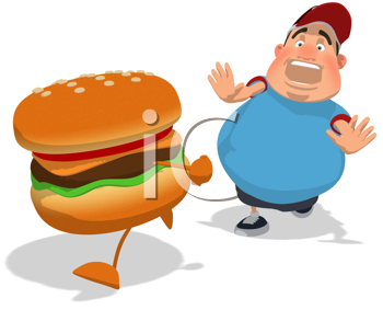 Royalty Free Clipart Image of a Man Chasing a Burger