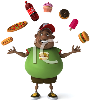 Royalty Free Clipart Image of an Overweight Man Juggling Fast Food