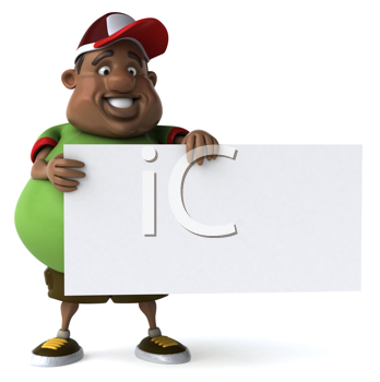 Royalty Free Clipart Image of an Overweight African American With a Sign
