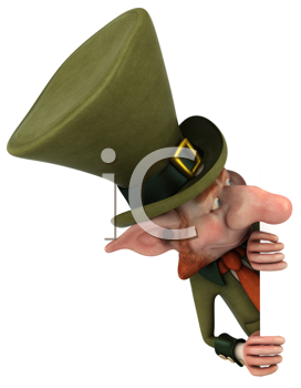 Royalty Free Clipart Image of a Leprechaun Peering From Behind Something