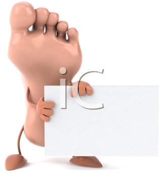 Royalty Free Clipart Image of a Foot Holding a Sign