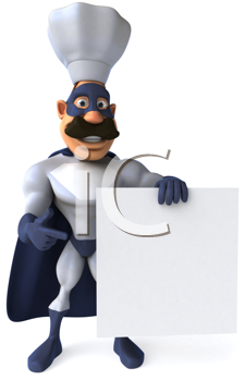 Royalty Free Clipart Image of a Superhero Chef With a Sign