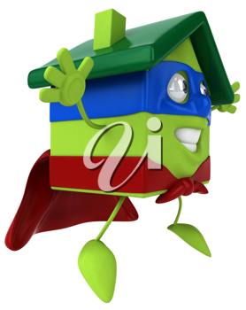 Royalty Free Clipart Image of a Green House Super Hero