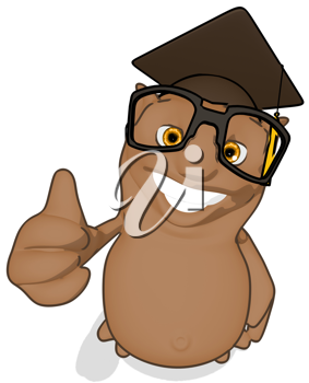 Royalty Free Clipart Image of a Happy Owl Professor Giving the Thumbs Up