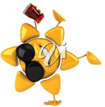 Royalty Free Clipart Image of a Sun in Sunglasses Holding a Drink