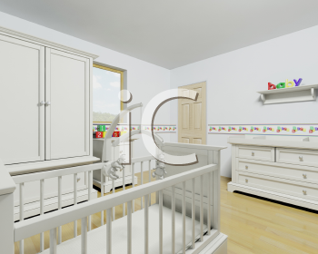 Royalty Free Clipart Image of a Nursery