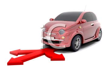 Royalty Free Clipart Image of a Small Car With Arrows in Front