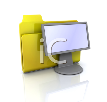 Royalty Free Clipart Image of a Folder and Monitor