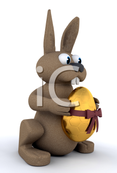 Royalty Free Clipart Image of an Easter Bunny With a Gold Egg