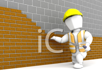Royalty Free Clipart Image of a Person Building a Brick Wall