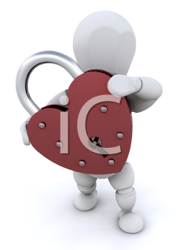 Royalty Free Clipart Image of a Person With a Heart Shaped Padlock