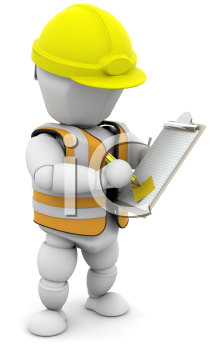Royalty Free Clipart Image of a Person With a Clipboard