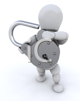 Royalty Free Clipart Image of a Person Holding an Open Padlock