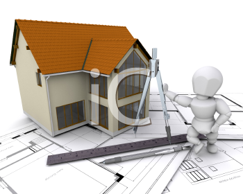 Royalty Free Clipart Image of a Person Next to a House On Plans