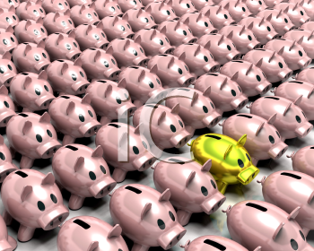 Royalty Free Clipart Image of a Gold Piggy Bank Among Pink