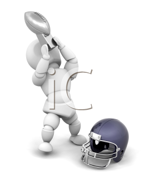 Royalty Free Clipart Image of a Football Player Holding a Trophy