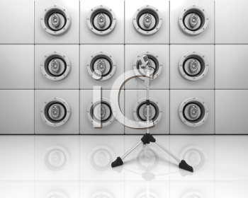 Royalty Free Clipart Image of a Speaker Wall and Microphone