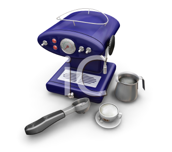 Royalty Free Clipart Image of a Coffee Machine, Cup and Cream