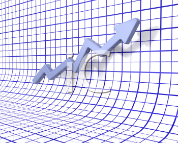 Royalty Free 3d Clipart Image of a Chart Showing Rising Profits