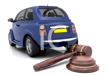 Royalty Free Clipart Image of a Car in Front of a Gavel