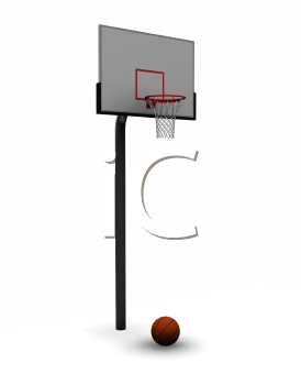 Royalty Free Clipart Image of a Basketball Net and Ball