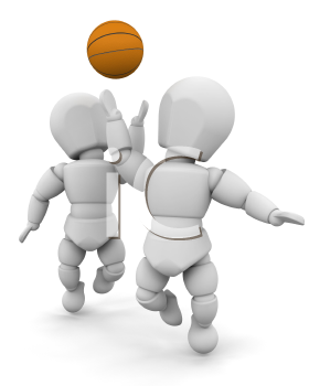 Royalty Free Clipart Image of Basketball Players