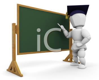 Royalty Free Clipart Image of a 3D Teacher at a Blackboard