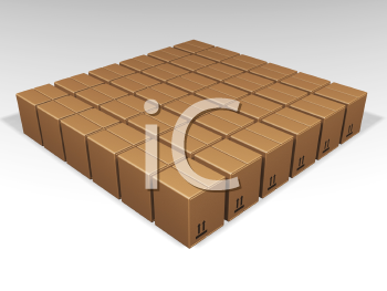 Royalty Free Clipart Image of a Square of Brown Boxes